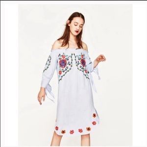 Zara Embroidered Floral Chambray Dress